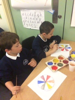 Colour mixing and plant artwork
